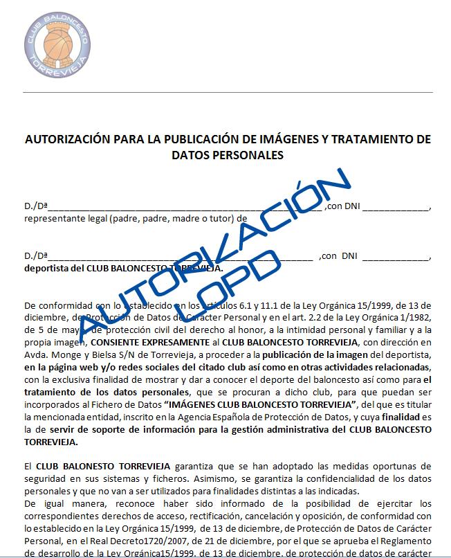Autorización LOPD
