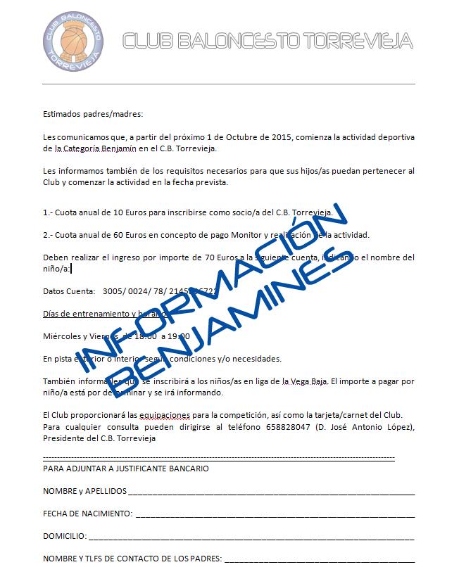 Información Benjamines